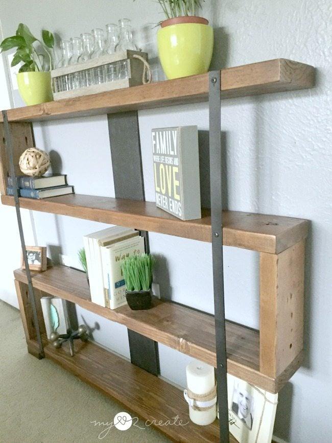 Rustic Industrial Narrow Bookshelf