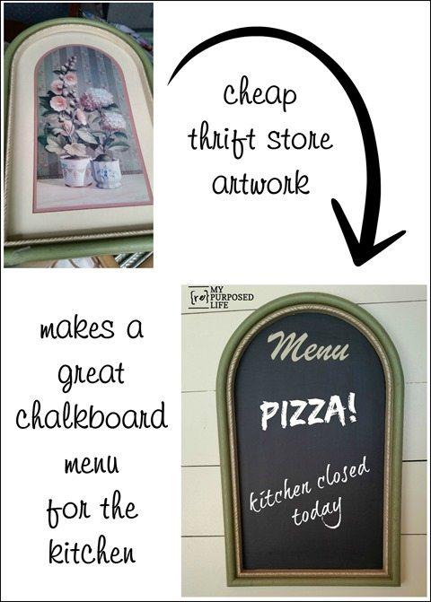cheap thrift store artwork makes a great chalkboard menu for the ktichen MyRepurposedLife.com