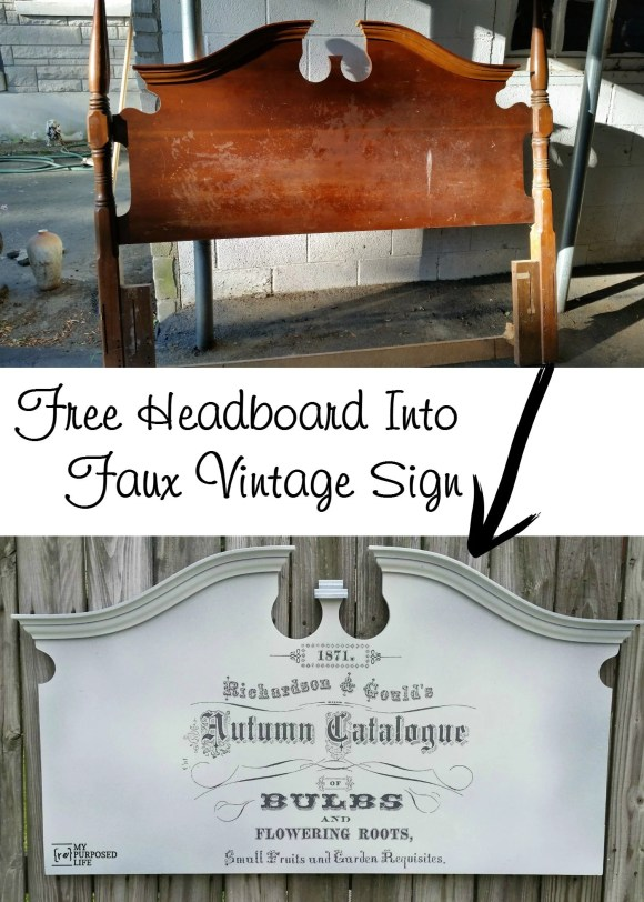 free headboard into faux vintage seed catalog sign MyRepurposedLife.com