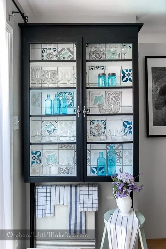 glass cabinet makeover