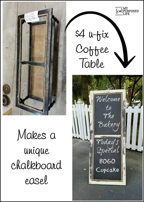 u-fix vintage coffee table repurposed into a unique chalkboard easel MyRepurposedLife.com
