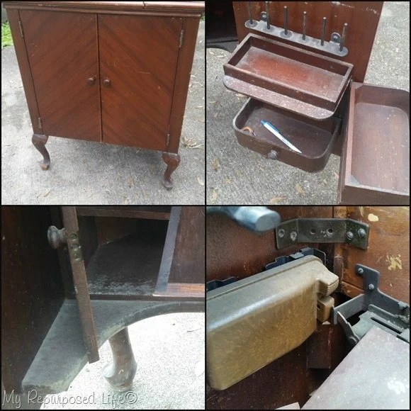 vintage sewing cabinet needs love