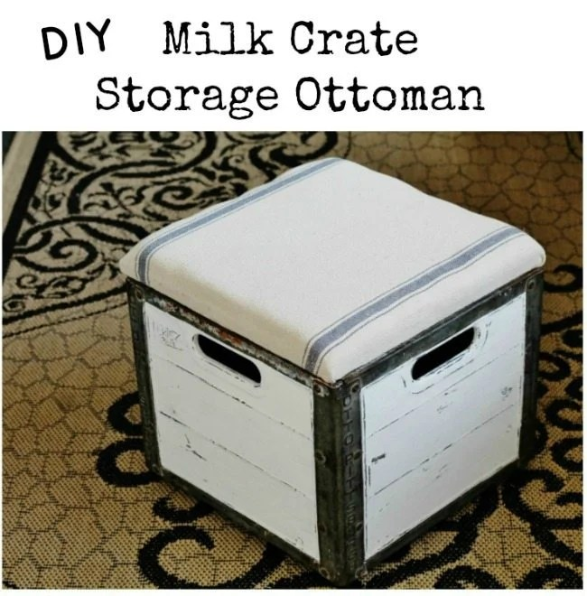 How to turn a milk crate into a padded storage ottoman