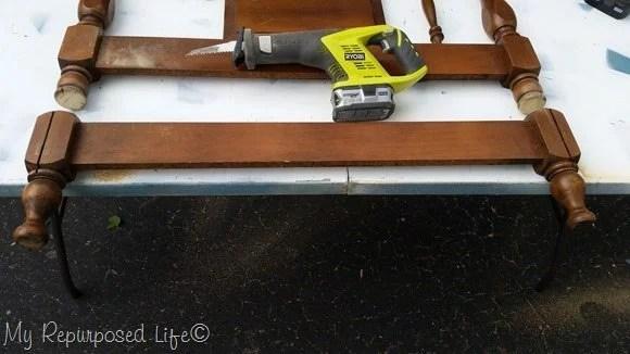 cut headboard with reciprocating saw