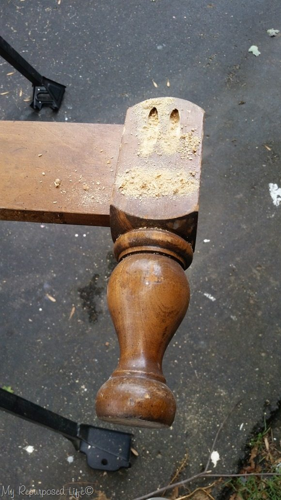 pocket holes on the front of the bed post
