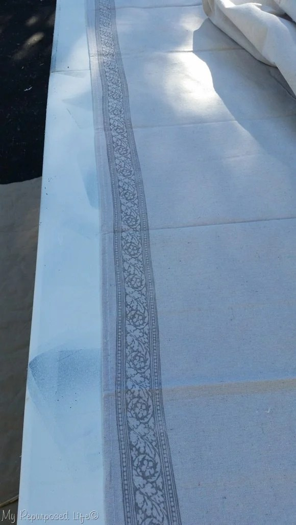 roma roller stamp on drop cloth