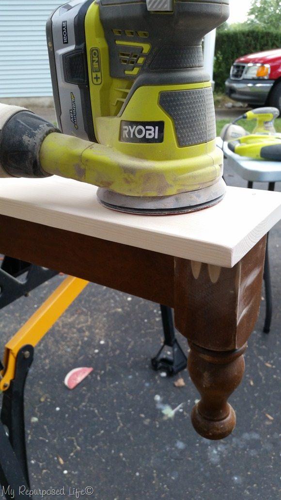 sanding shelf smooth