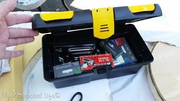 small stanley tool box for stapler and staples