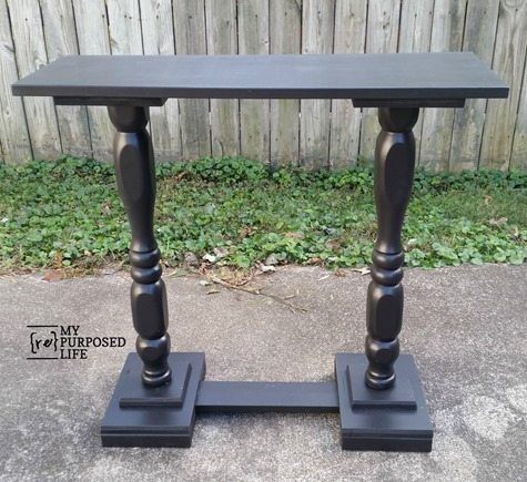 black double pedestal table made from scraps MyRepurposedLife.com