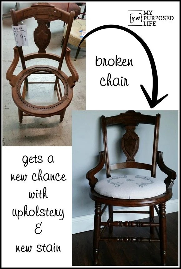 broken antique cane chair new upholstery and stain MyRepurposedLife.com