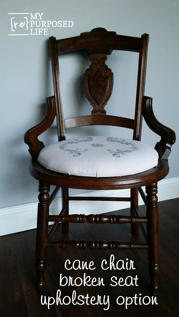 Antique Cane Chair Makeover With Upholstered Seat My