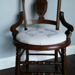 antique cane chair makeover with upholstered seat