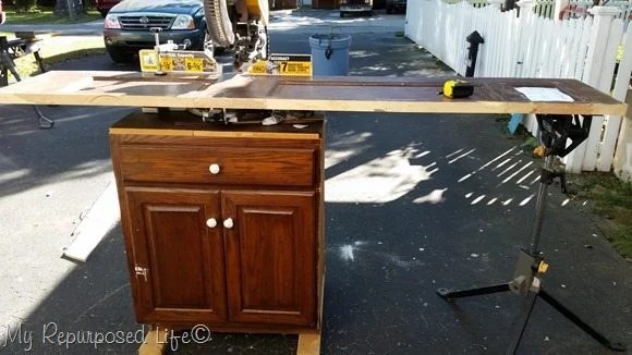 cut door on compound sliding miter saw