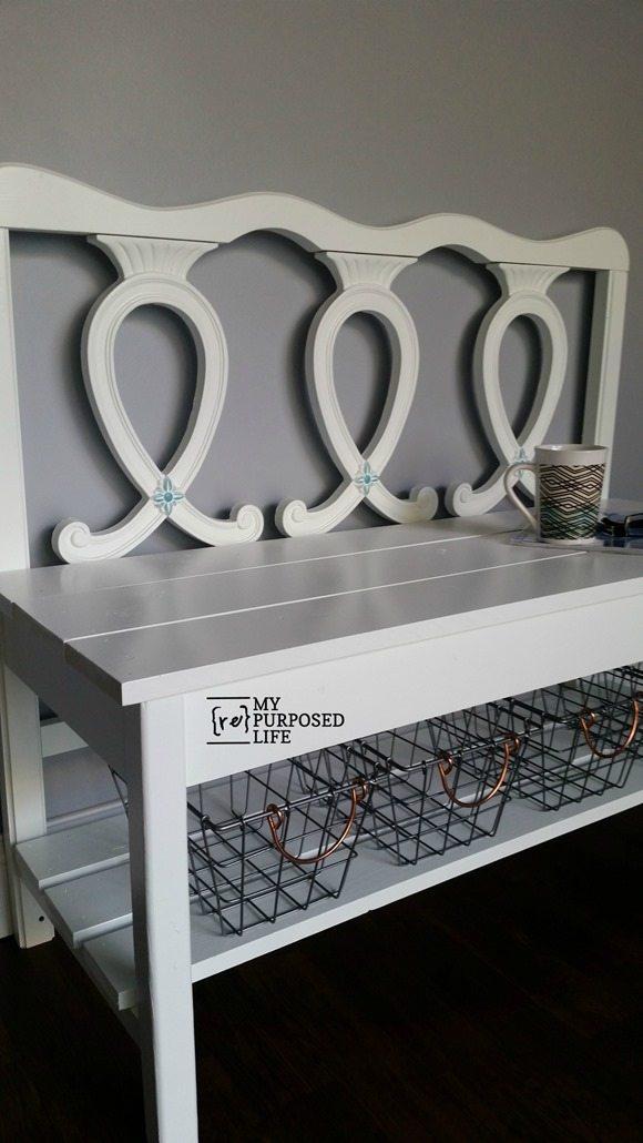 french provincial headboard bench wire baskets MyRepurposedLife.com