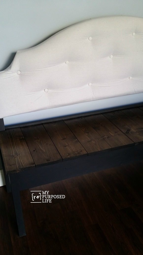 large upholstered headboard bench MyRepurposedLife.com