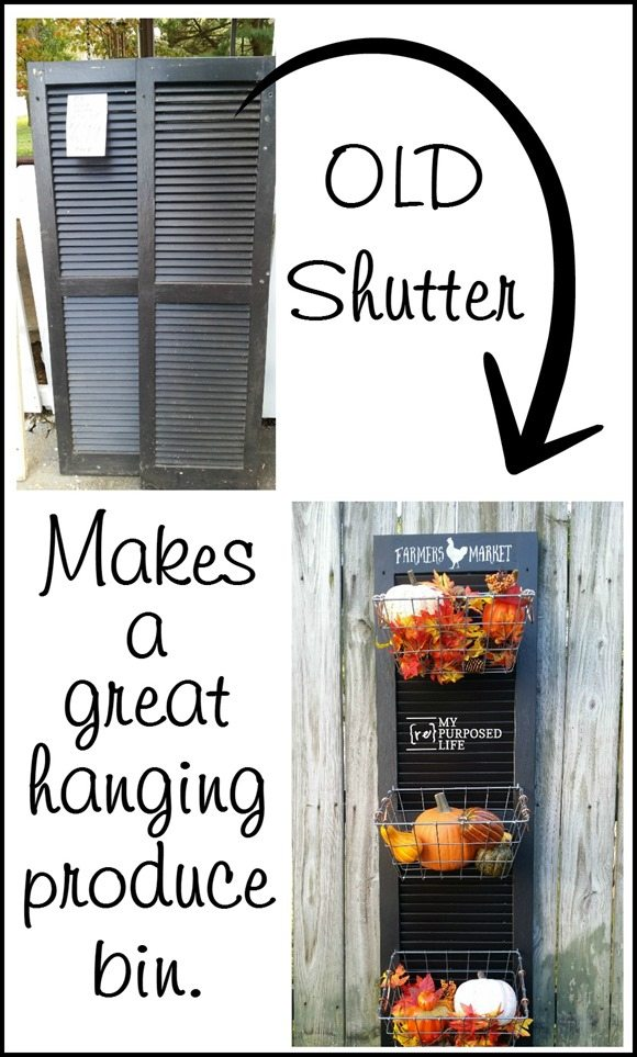 How to repurpose an old shutter into a hanging produce bin by adding some hooks and wire baskets. Lean against the wall or hang it to keep produce handy. #MyRepurposedLife #repurposed #upcycle #shutter #produce #bin #organizer via @repurposedlife