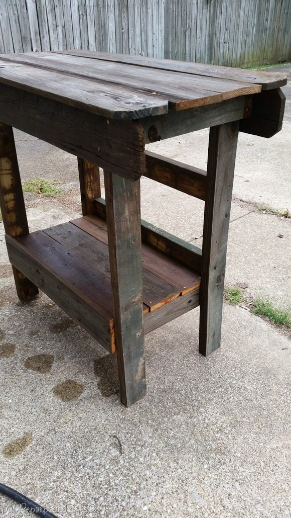 salvaged wood outdoor bar | kitchen island - My Repurposed ...
