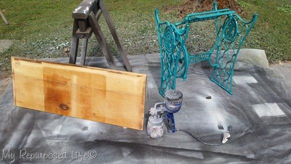 prepare singer treadle base machine for painting
