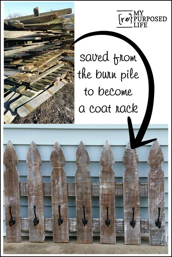 How to make a whitewash coat rack out of an old picket fence. Three styles show you how versatile this project is. Make your own. #MyRepurposedLife #picket #fence #coatrack #howto #whitewash via @repurposedlife