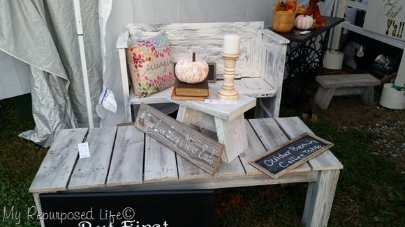 whitewashed reclaimed lumber coffee table bench