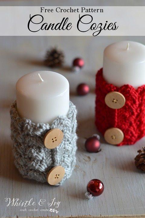 crochet candle cozies