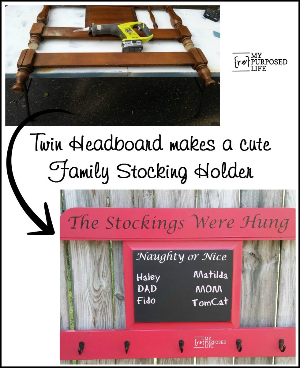 Make a Christmas stocking holder and chalkboard out of an old headboard. With a built-in naughty and nice list chalkboard. Repurposed headboard ideas. MyRepurposedLife.com