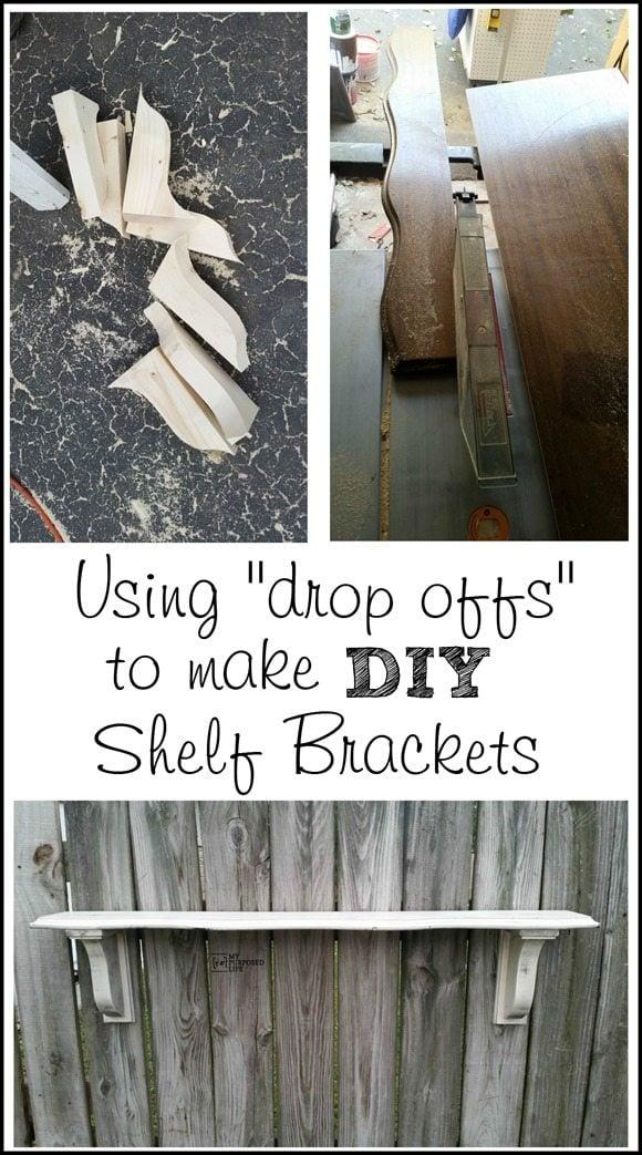 using scrap wood drop offs to make diy shelf brackets MyRepurposedLife.com