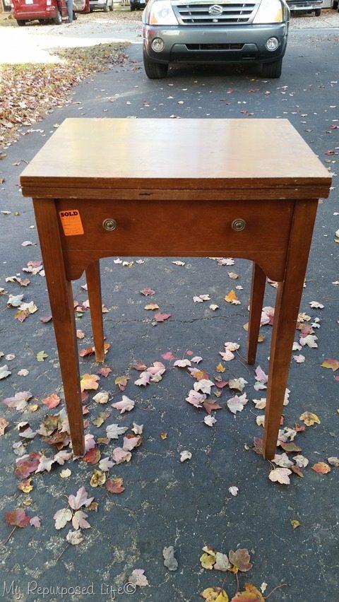 vintage sewing cabinet needs TLC