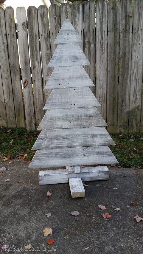 wooden whitewashed indoor outdoor Christmas tree