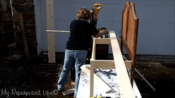 cut slats for headboard bench seat