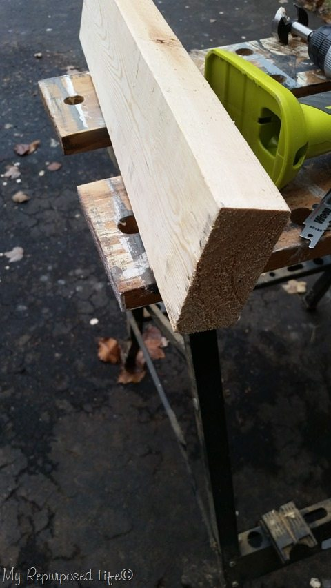 desk plaque cut on an angle with table saw