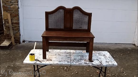 stained twin headboard bench MyRepurposedLife.com