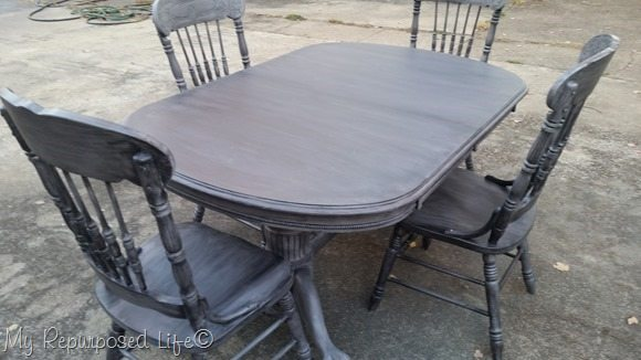 black washed gray oak dining table and chairs MyRepurposedLife.com
