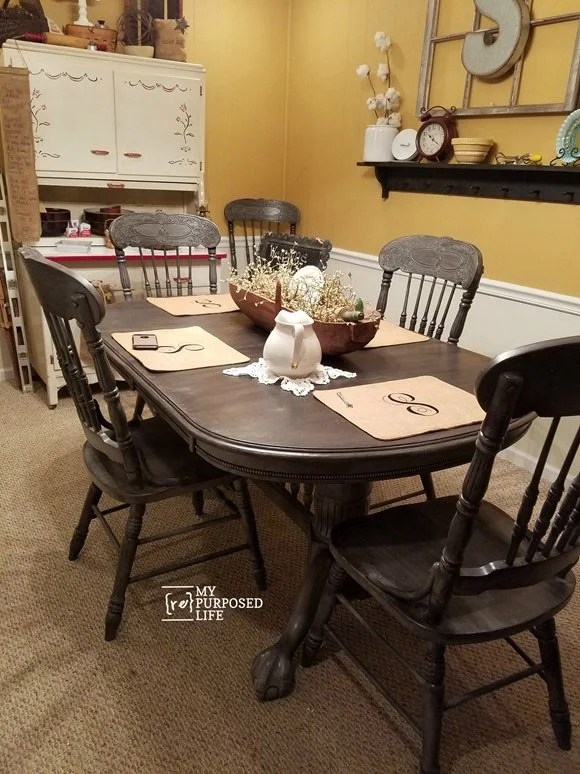 painted tables and chairs high chair that connects to table double pedestal oak my repurposed life dining gray black myrepurposedlife com
