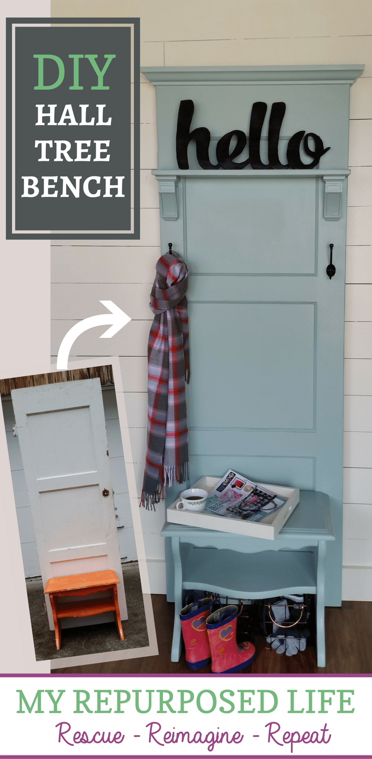 how to make a hall tree bench out of an old door and a nightstand