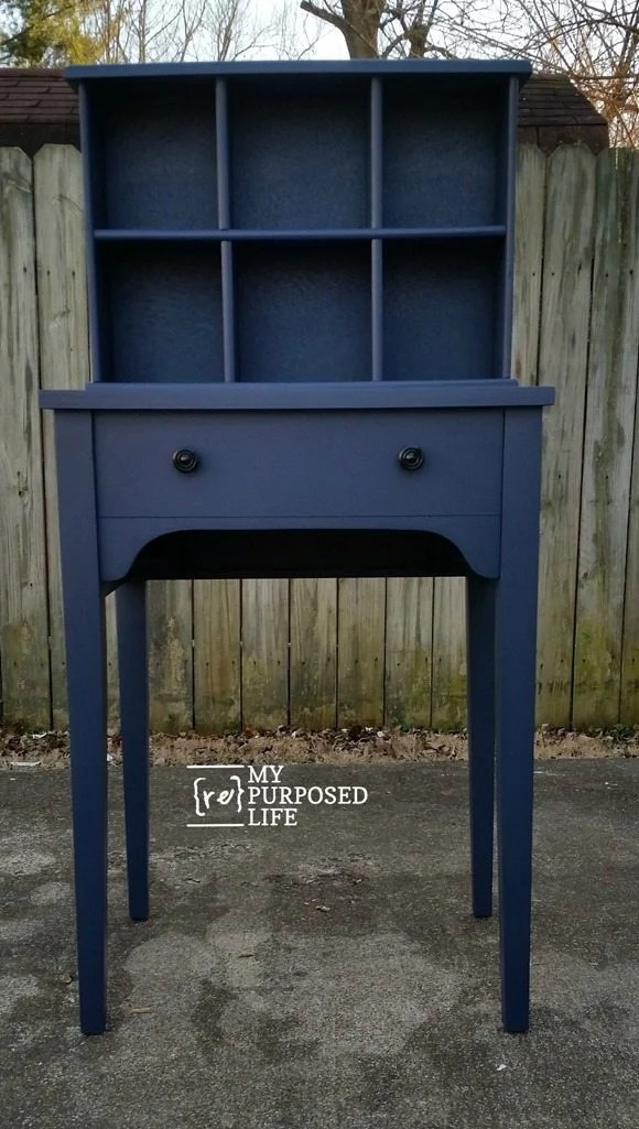 navy blue sewing cabinet cubby organizer writing desk MyRepurposedLife.com