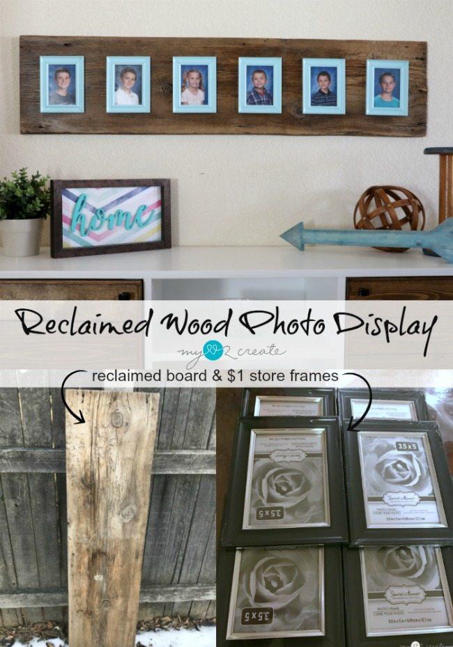 Reclaimed wood photo display