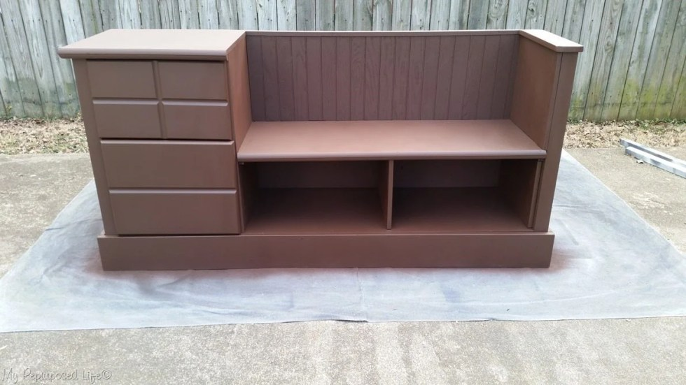 brown dresser bench