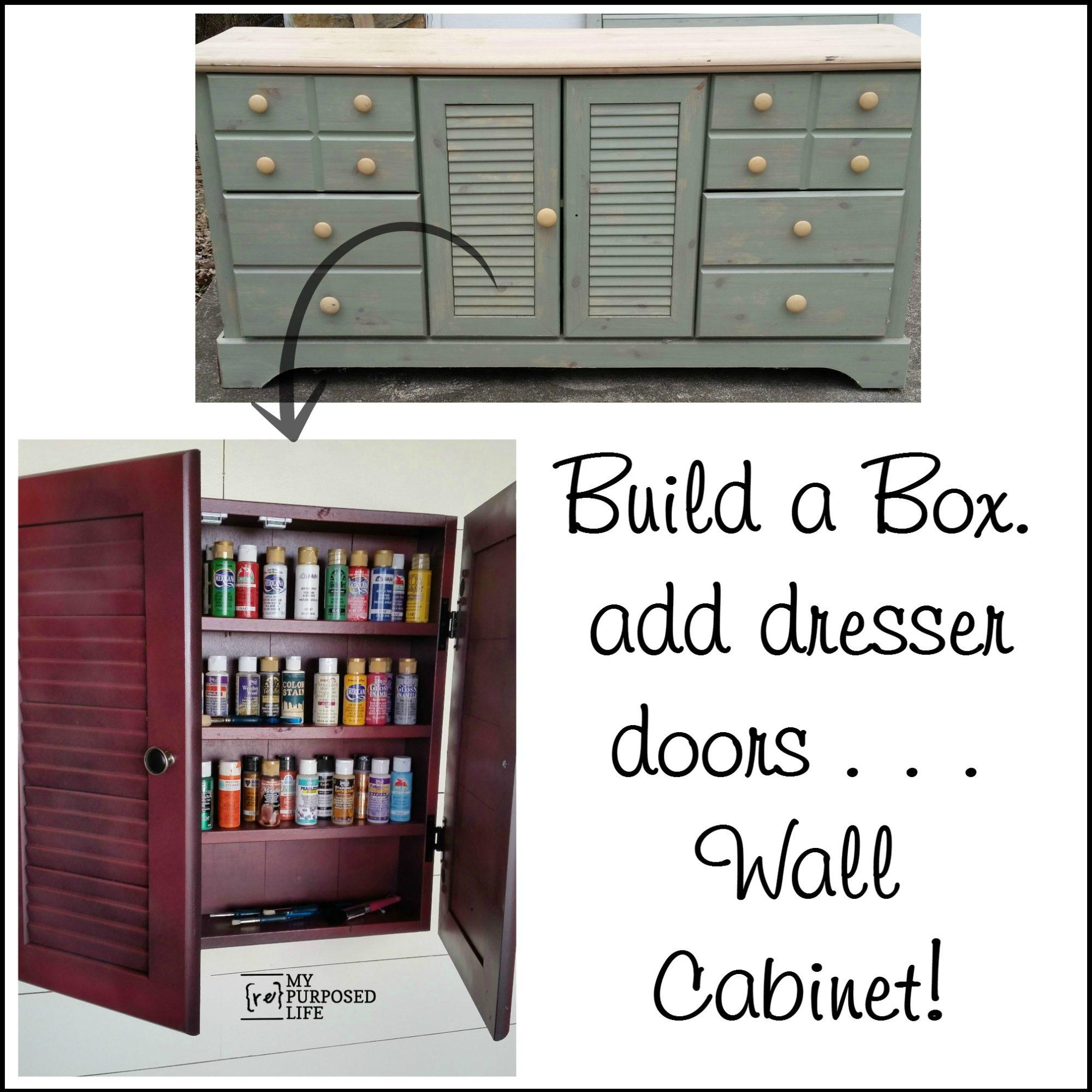 Wall Cabinet Craft Storage Repurposed Doors My