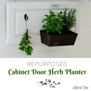 Repurposed cabinet door and bread pan herb planter by Knick of Time