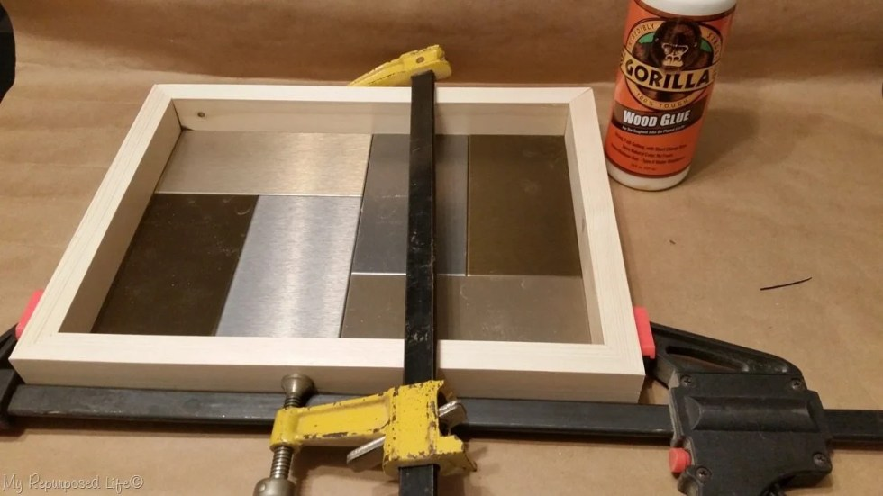clamp and glue diy tray