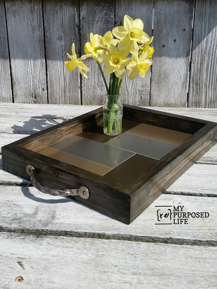 diy metal tile tray MyRepurposedLife.com