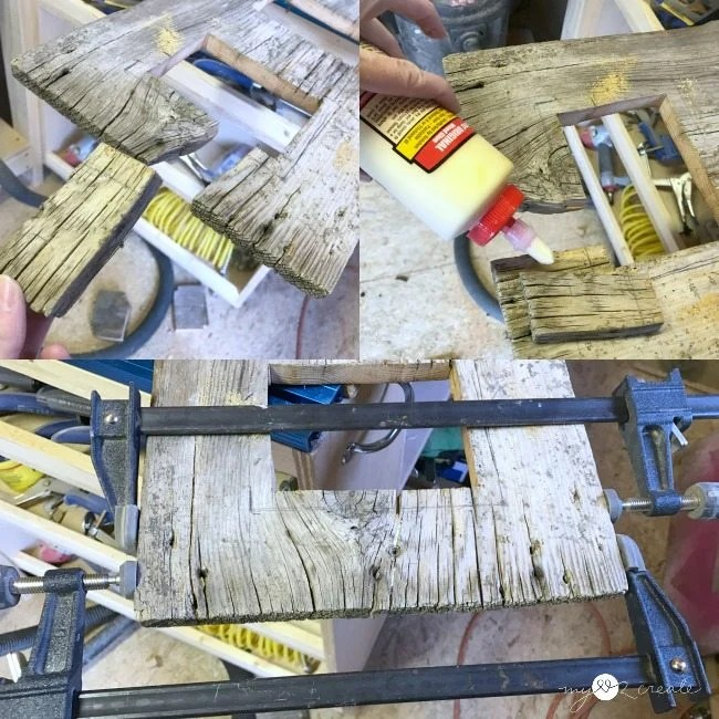 gluing in old wood piece