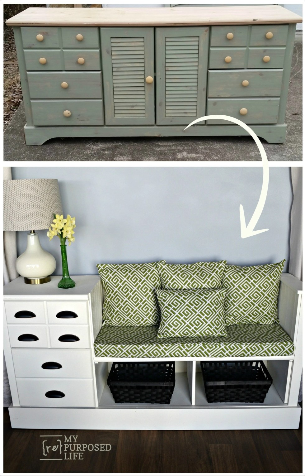 old dresser upcycled fresh new white storage bench for kitchen mudroom and more MyRepurposedLife.com