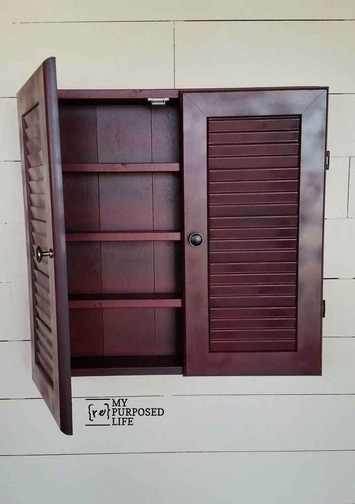 red glazed louvered door wall cabinet MyRepurposedLife.com