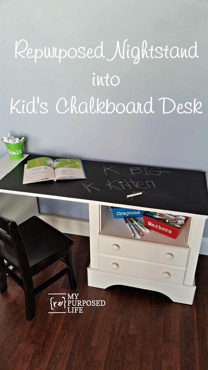 nightstand into kids chalkboard desk MyRepurposedLife