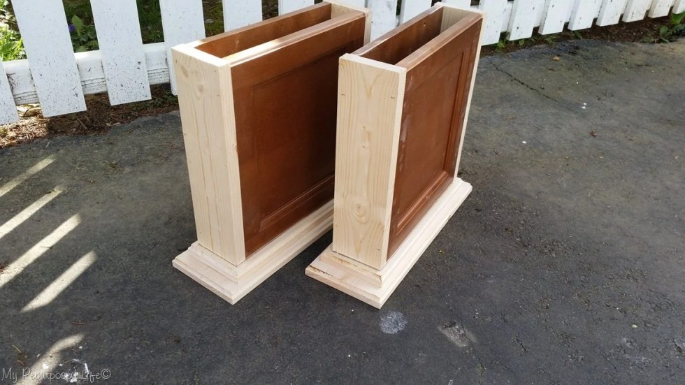 repurposed cabinet door bench supports
