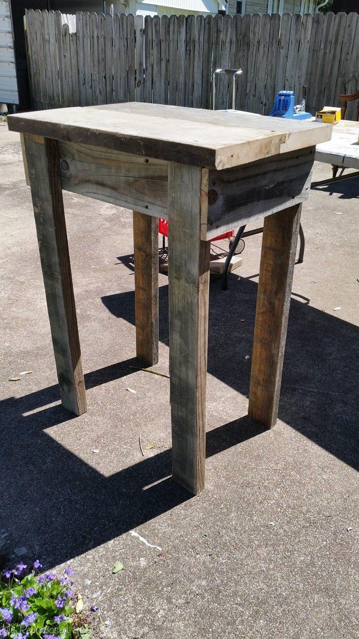 rustic garden table in progress