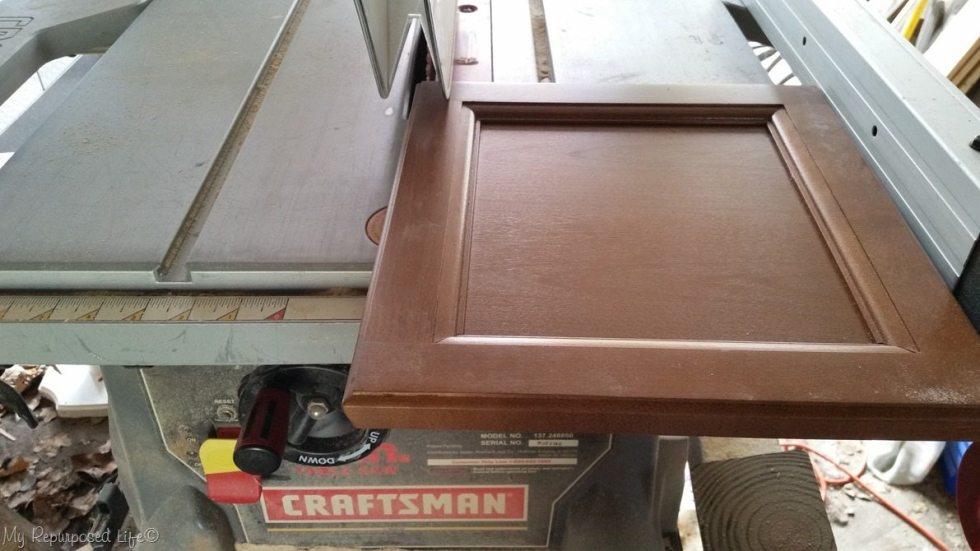 trim cabinet door edge on table saw