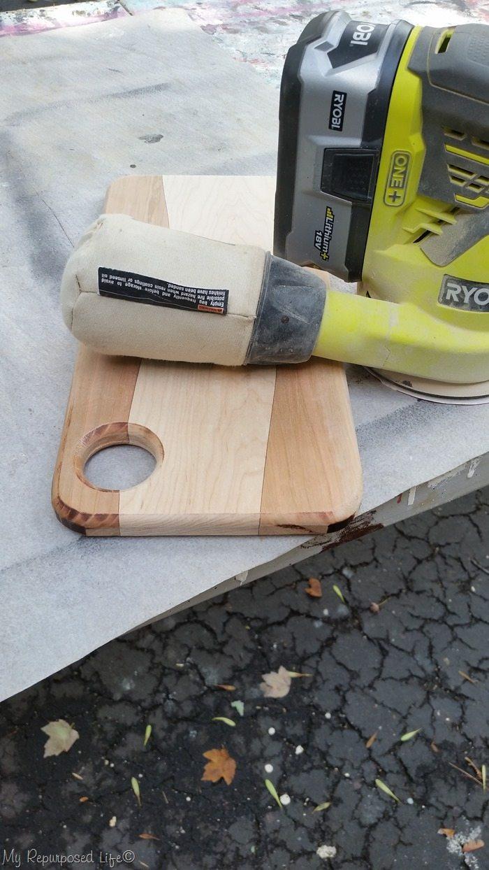 diy cutting board before sanding